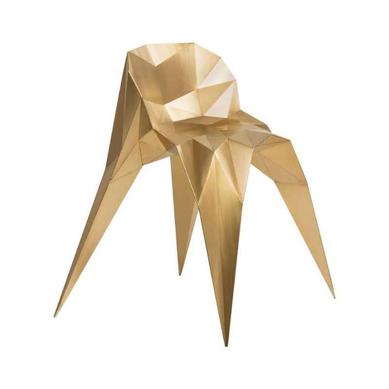 zhoujie zhang Zhoujie Zhang Merges Digital Design With Art Furniture Brass Spider Chair Unique Dining Chair