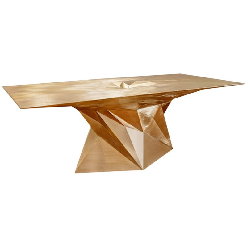 zhoujie zhang Zhoujie Zhang Merges Digital Design With Art Furniture Brass Tornado Square Center Dining Table