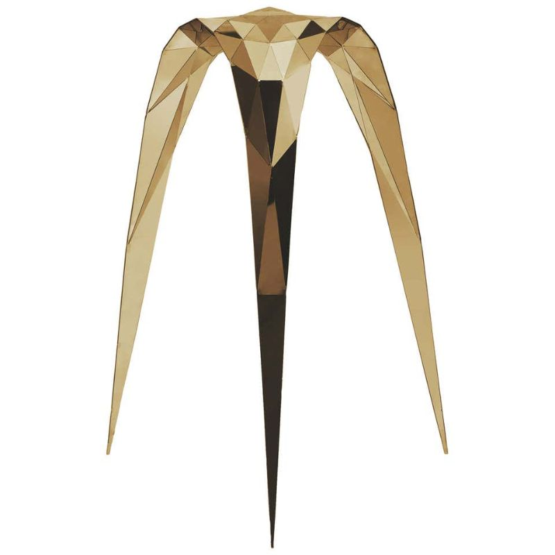 zhoujie zhang Zhoujie Zhang Merges Digital Design With Art Furniture Brass Triangle Stool Side Chair